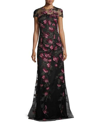 Cap-Sleeve+Floral+Tulle+Gown,+Pink/Gold/Black+by+David+Meister+at+Neiman+Marcus.