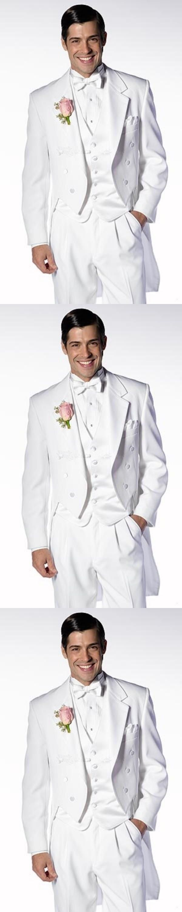 New Style Long white Evening Groom Tuxedos One Button Peaked Lapel Party Wedding Prom Ball Classic Suits( jacket+Pant+vest+tie)