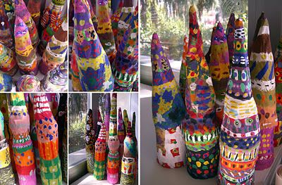 What a cool idea for paper mache.  Love the look of them all grouped together!