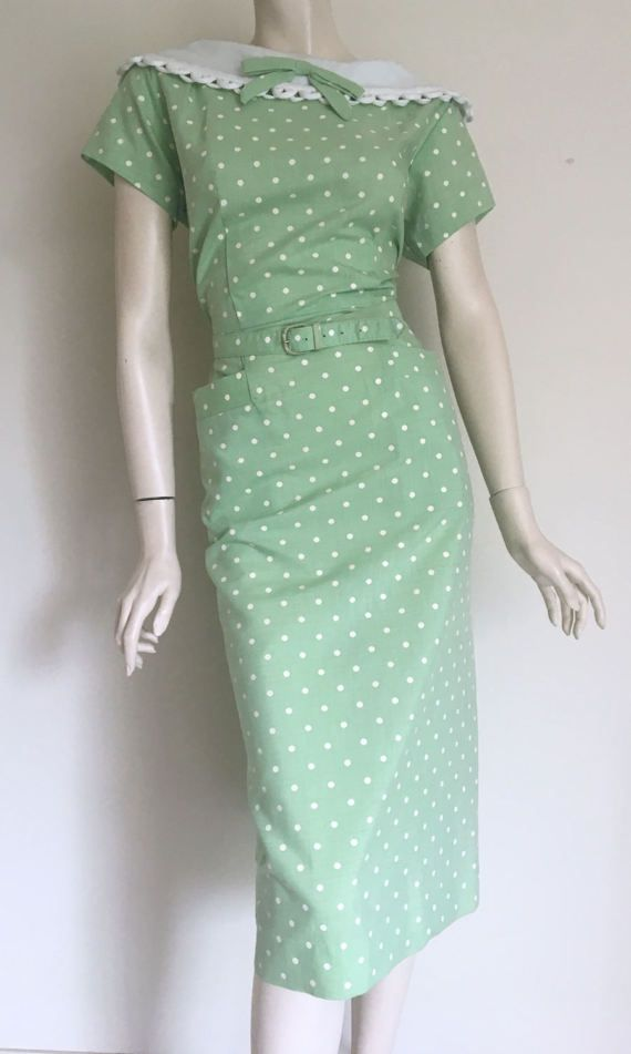 RESERVED  Gorgeous 50s Green Polka Dot Day Dress / Large / NOS / Deadstock