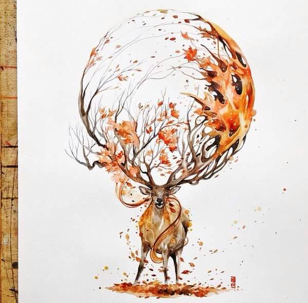 Stag Art Surreal Watercolour Animal Drawing