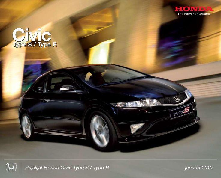 2010 Honda Civic Type S Type R prijslijst  Prijslijst Honda Civic Type S / Type R januari 2010