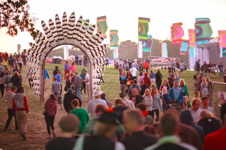 Festival style feather archway. This one looked stunning at Secret Garden Party.