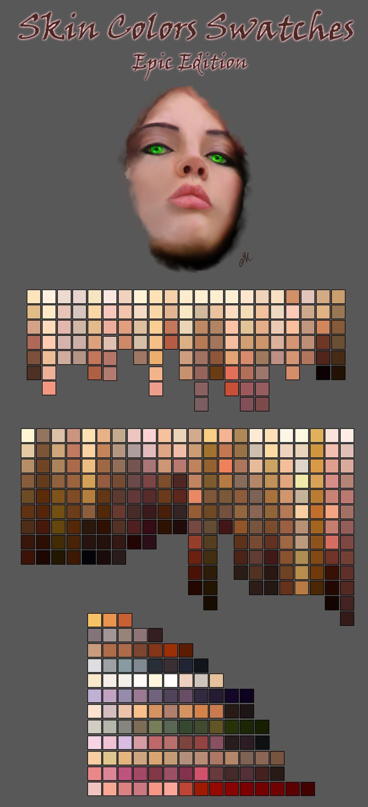 ༺༺༺♥Elles♥Heart♥Loves♥༺༺༺ ............♥Color Charts♥............ #Color #Chart #ColorChart #Inspiration #Design #Moodboard #Paint #Palette #Decorate #Art #Renovate ~ ♥SpaceMan's SpaceBook Journal On ZBrush Skin Color Swatches