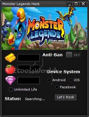 http://www.etoolsworld.com/monster-legends-hack/ - The most interesting tool to Monster Legends - Only from us, only right now. Don't wait for it!