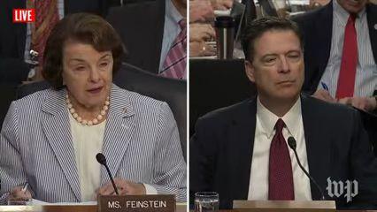 Dianne Feinstein, James Comey   Live: Former FBI Director James Comey Testifies Before Congress (2017 broadcast) via Washington Post (YouTube channel)