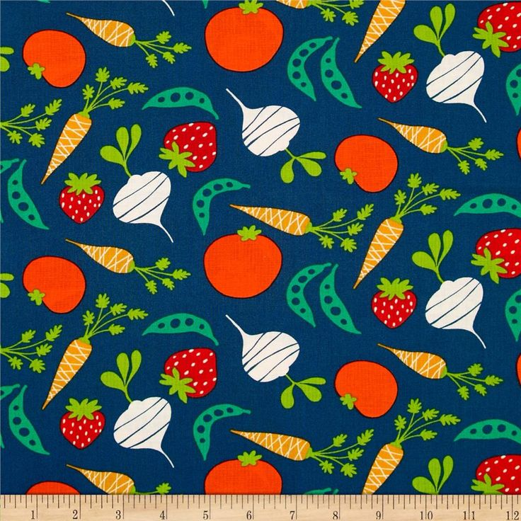 Garden Veggies Dusk from @fabricdotcom  Designed by David Walker for Free Spirit, this cotton print is perfect for quilting, apparel and home decor accents.  Colors include navy, cream, orange, red and green.