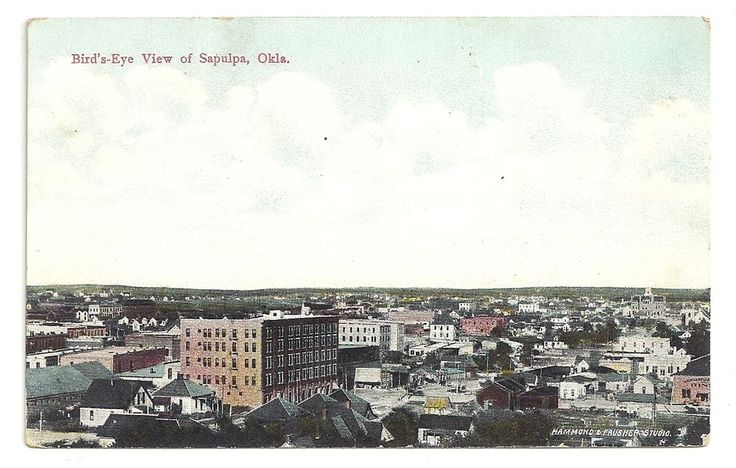 Birds Eye View Sapulpa Oklahoma Unposted Vintage Postcard