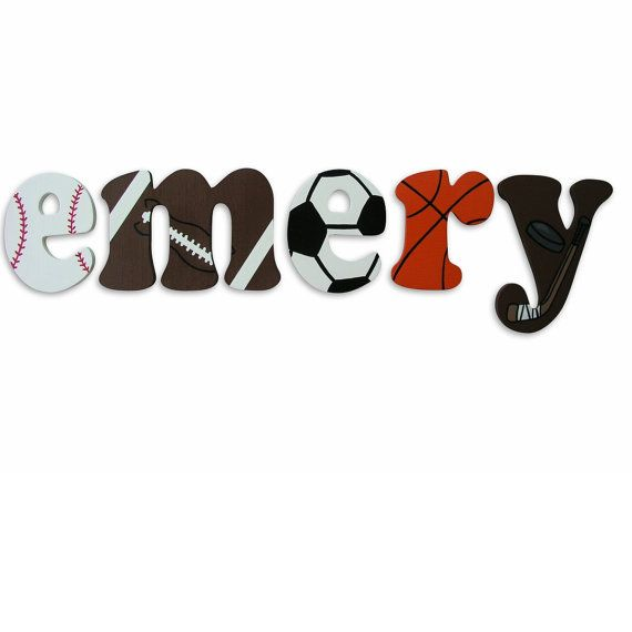 Sports Hand Painted Custom Painted wooden letters football, basketball, soccer, hockey,baseball on Etsy, $12.00