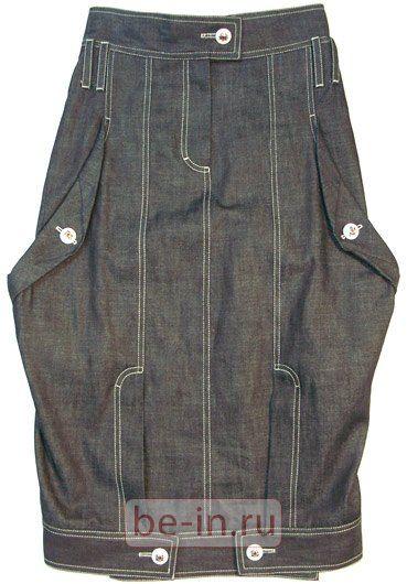 Юбка джинсовая серая с объёмными карманами, пуговицами, Mainaim, где купить: MaiNaiM