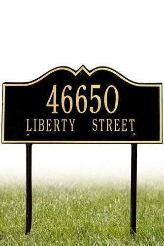 Hillsboro Two-Line Standard Lawn Address Plaque - standard/2 line, Black by Home Decorators Collection. $125.00. Hillsboro Two-Line Standard Lawn Address Plaque - It's Your Own Little Corner Of The World - So Why Not Mark It With Pride? A House Sign Announces A Message Of Distinction. These Premium, Textured And Dimensional Address Plaques Are Designed With Large Letters And Numbers For Maximum Visibility. Choose From Our Exceptional Array Of Custom Address Plaques To Fin...