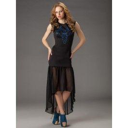 Vestido Negro Largo Asimetrico VL73