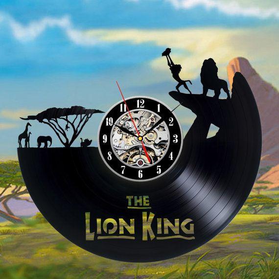 Lion king art vinyl record wall clock by ClockoLand on Etsy