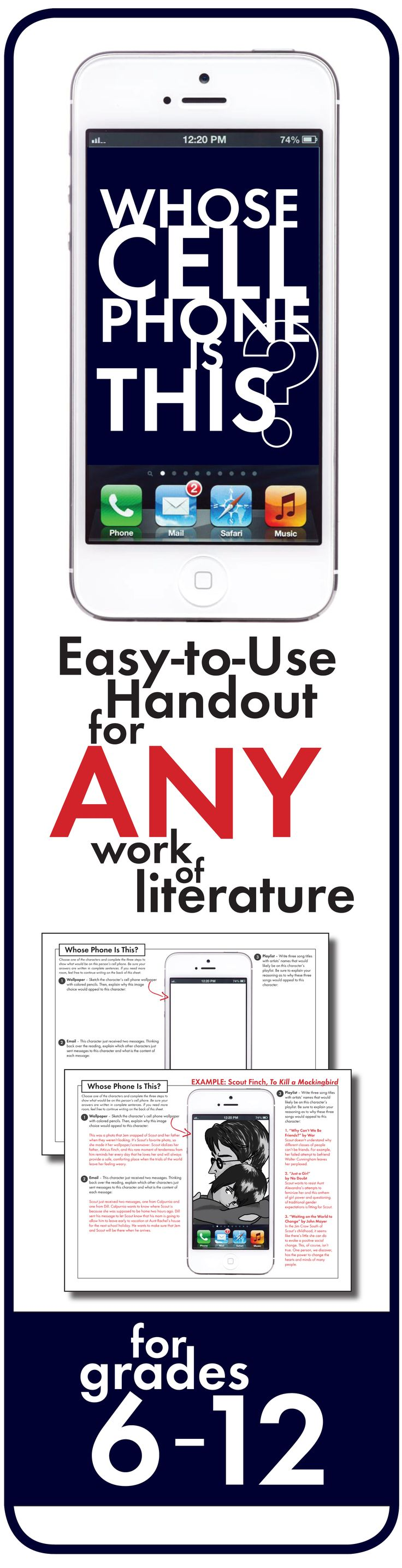 Add a little fun to ANY novel, play, short story, or history unit with this easy-to-use worksheet. Click HERE for print-and-teach materials!