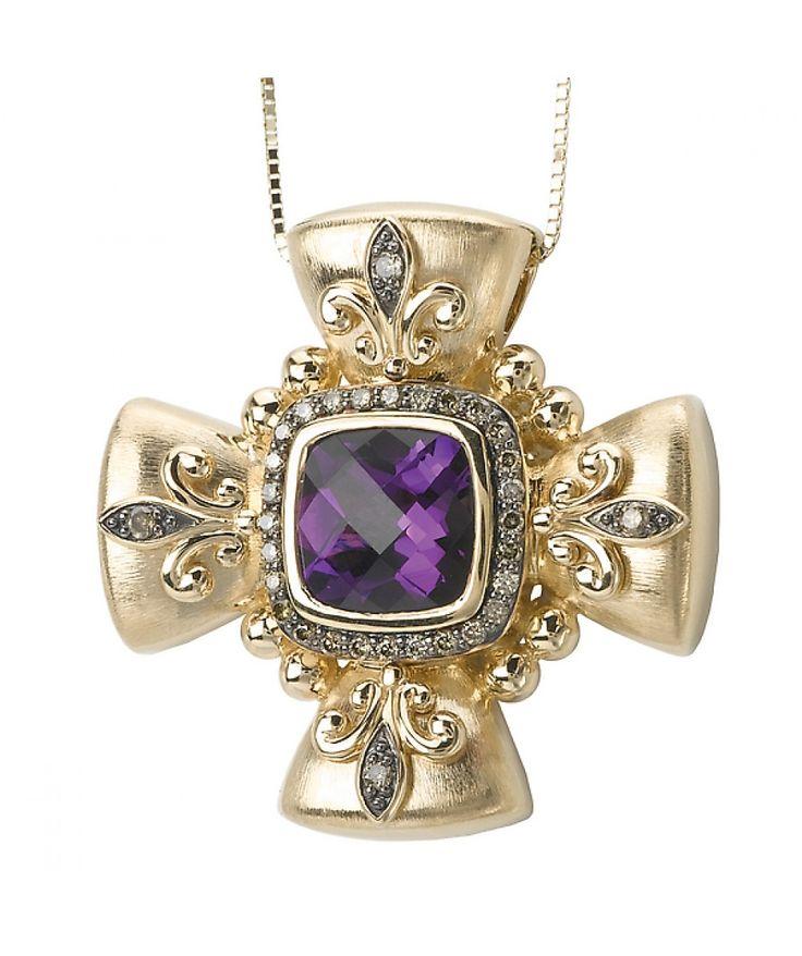 14KY TESORO COGNAC DIA/ AMETHYPENDANT, D.28CTW, AM 9X9 CUSH - Pendants - Jewellery & Gifts