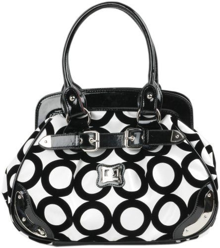 Let's feel the allure of this chic mod black circle pattern with velvet texture. This manmade material bowler satchel embellished with a belted PU leather strap and silver plaques giving this handbag a fashion statement. Two rolled PU leather handles includes a zippered closure to secure your belongings. Two main section compartments partitioned with a zippered pocket for organizing small items. Two open top pockets and one zippered pocket provid...: Blackandwhite, Hobo Handbags, Black And White, White Chic, Circle Bowler, Satchel Hobo, Bowler Satchel, Mod Circle