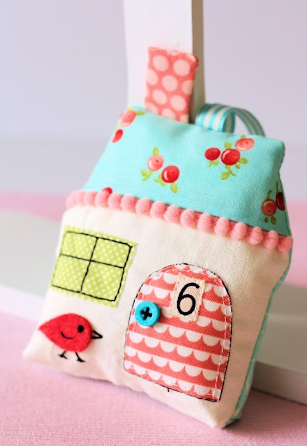 Lavender filled House Sachet - made using pattern from Retro Mama.