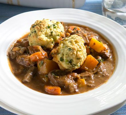 Skinny beef stew and dumplings We've cut the calories and fat and boosted the fibre in this comforting casserole by using a lean cut of beef and upping the vegetables