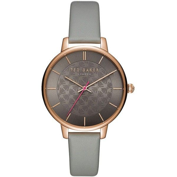 Ted Baker London Women's Kate Bow Print Leather Strap Watch (530 BRL) ❤ liked on Polyvore featuring jewelry, watches, grey, quartz wrist watch, round watches, analog wrist watch, analog watches and ted baker watches