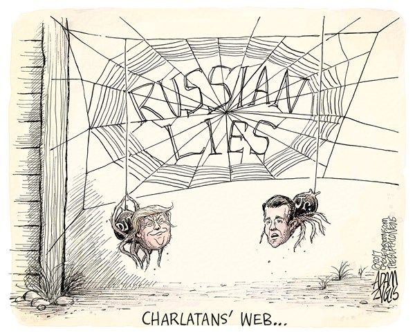 Adam Zyglis - The Buffalo News - Charlatan's web COLOR - English - donald, trump, jr, trump jr, russia, meeting, email, lawyer, dirt, clinton, hillary, white house, meddling, election, campaign, kushner, charlatan, lies, putin, web