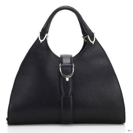 Gucci Stirrup Leather Top Handle Bag Black