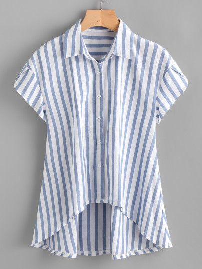 Contrast Striped Petal Sleeve Dip Hem Shirt