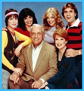 Too Close For Comfort - Season 2 Cast:  Counter clockwise from bottom - Ted Knight as Henry Rush; Nancy Dussault as Muriel Rush; JM J. Bullock as Monroe Ficus; Lydia Cornell as Sara Rush (1980-1985); Deborah Van Valkenburgh as Jackie Rush (1980-1985); Deena Freeman as April Rush (1981-1982)