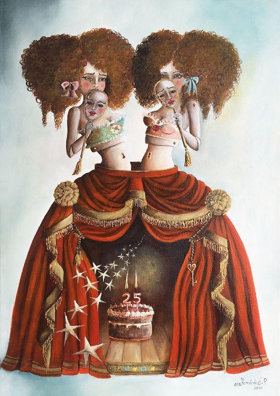 INSEPARABLES. 25 Aniversario Festival teatro Clásico de Cáceres. Óleo sobre Lienzo. 2014. 60 x 50 cm.