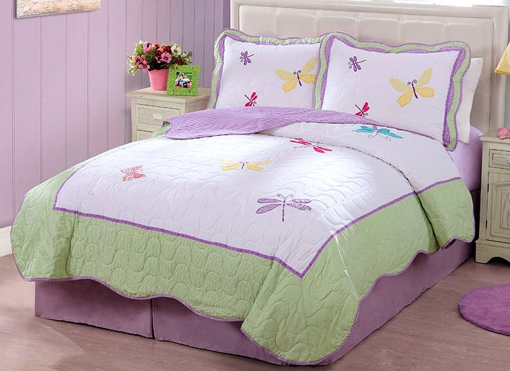 Purple green butterfly dragonfly bedding little girls full - Green and purple comforter ...