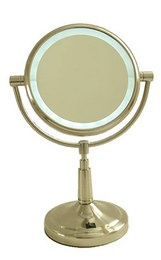 5 times magnification Satin Nickel finish vanity mirror.