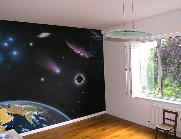Space galaxy wall paintings space bedroom pinterest for Space themed murals