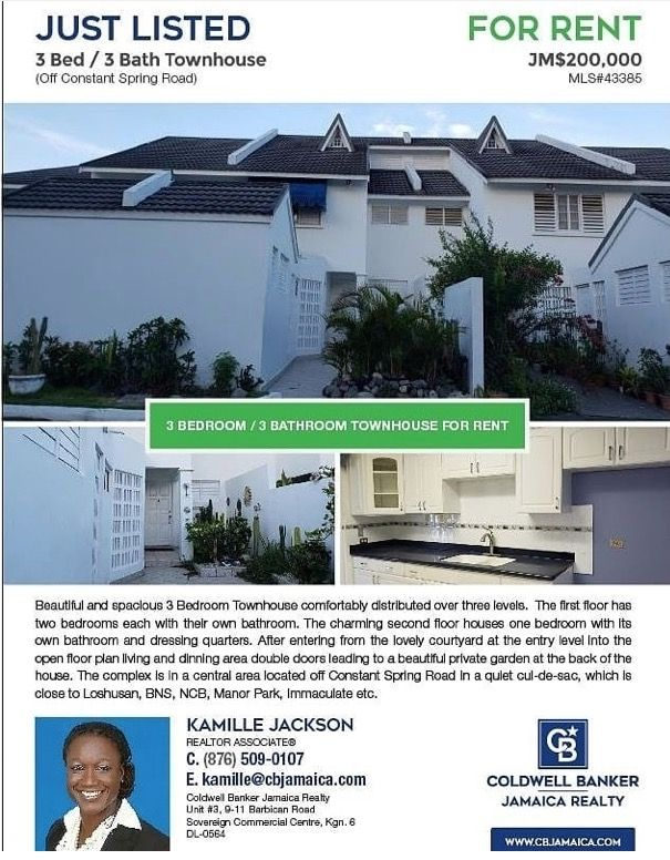 3Bedroom townhome for rent at JMD 200k per month in