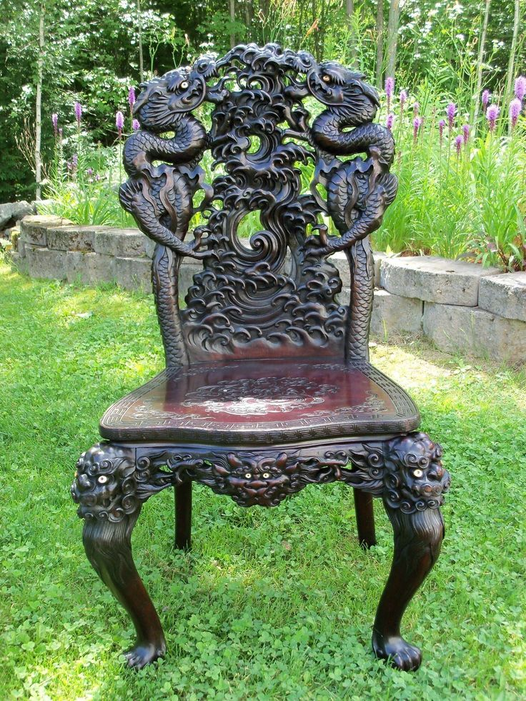 Chinese carved chair antique vintage chinese oriental for Oriental wood carved furniture