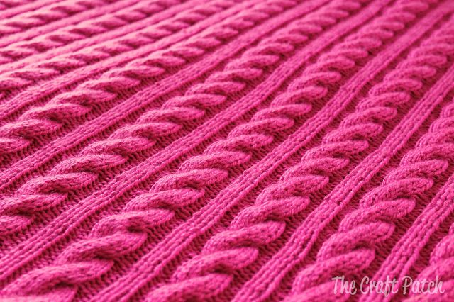 Cable Knit Baby Blanket with link to free pattern