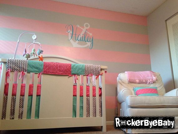 """CUSTOM punk baby 4 piece set 3 MIXED PRINTS crib bedding set fabric Anchors Pink Aqua and Gray nursery design.  Your choice of Bumpers or our """"Bite Me"""" Teething Guards. Each set is made to order and completely customizable."""