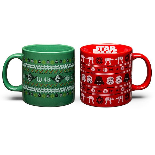 Ugly sweater patterns are a holiday staple, so we say double down on it. Don't just stop at the sweater and maybe a pair of socks - go all in with some mugs as well!