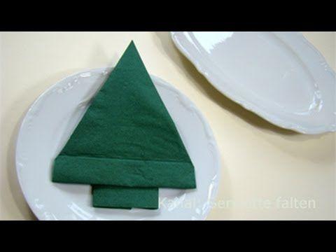 Servietten falten Weihnachten: einfache Tischdeko Weihnachten - Weihnachtsbaum - YouTube