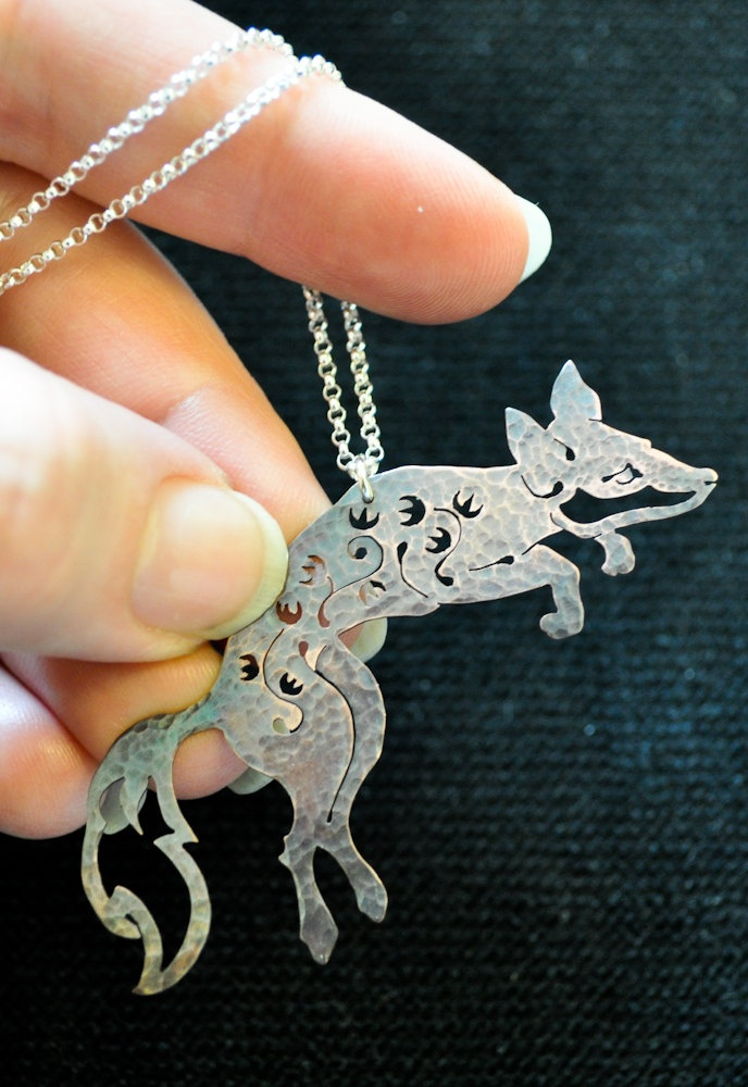 Jewelry | Jewellery | ジュエリー | Bijoux | Gioielli | Joyas | Art | Arte | Création Artistique | Precious Metals | Jewels | Settings | Textures | Woodland Fox Necklace / Pendant / Floral Fox / Silver / Copper. 60.00, via Etsy.