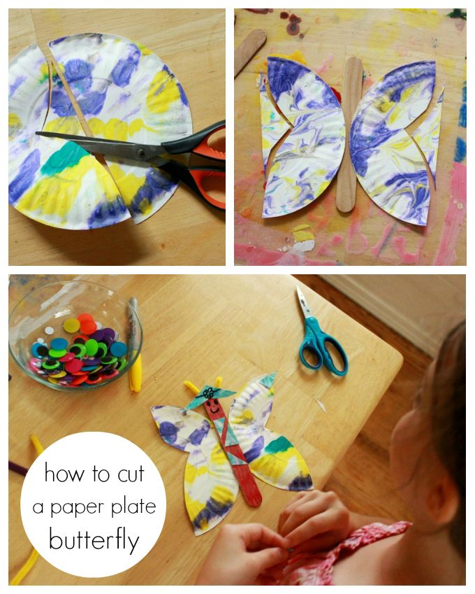 A Marbled Paper Plate Butterfly Craft - The Artful Parent
