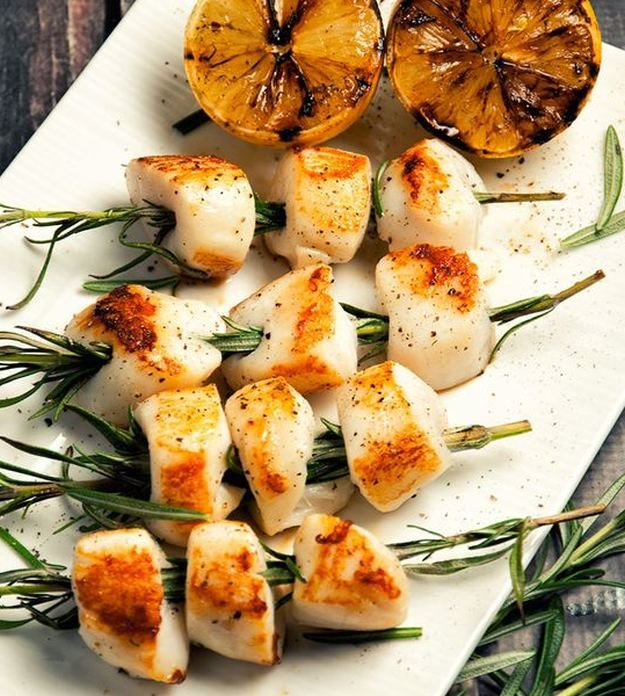 Rosemary-Skewered Scallops | A Dozen Grilled Seafood Recipes For Your Next Seafood Feast by Homemade Recipes at http://homemaderecipes.com/12-grilled-seafood-recipes/