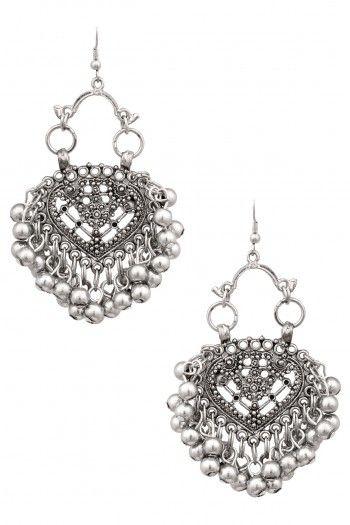Ritika Sachdeva Silver Finish Mini Embossed Paan Ghungroo Earrings #happyshopping #shopnow #ppus
