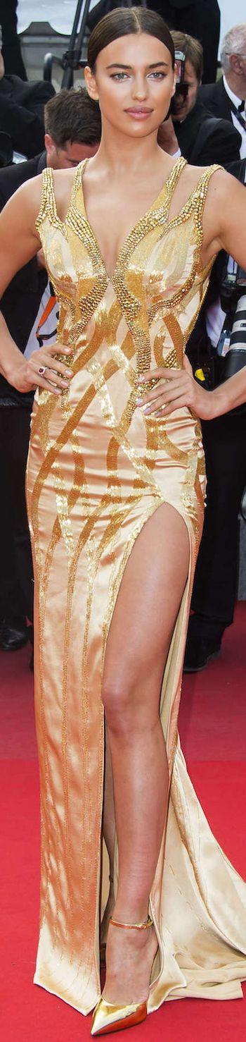 Irina Shayk wearing Versace at the 2015 Cannes Film Festival