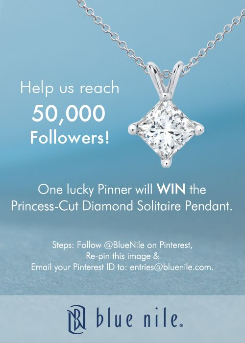 #WIN this stunning Princess-Cut Diamond Solitaire Pendant from #BlueNile. Follow @Shan @ Red Queen Miscellanea Nile.. directions to enter on the pin.