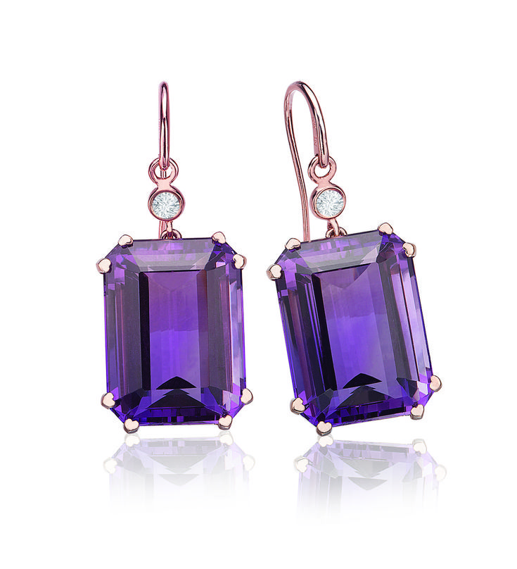 Amethyst Earrings in Rose Gold.  These gorgeous amethyst earrings by Lisa Nik make a statement without the diamond bling. Set in 18 karat rose gold with bezel diamond accents on a wire. Did you notice the heart shaped prongs? $2,310.00