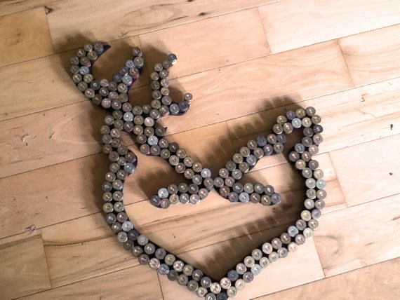 Kissing deer heart Shotgun Shell Art wall by SilverThornDesignArt