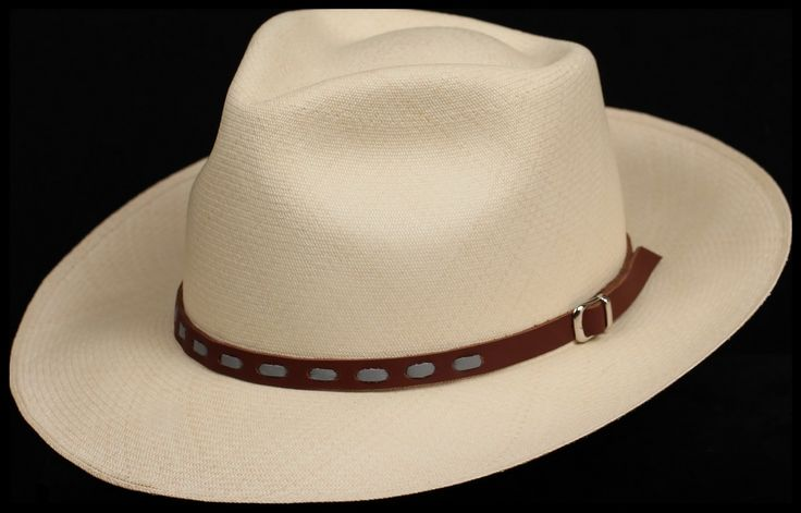 Brown with Grey stitch Leather hat band