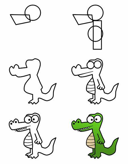 How to draw a cartoon crocodile.