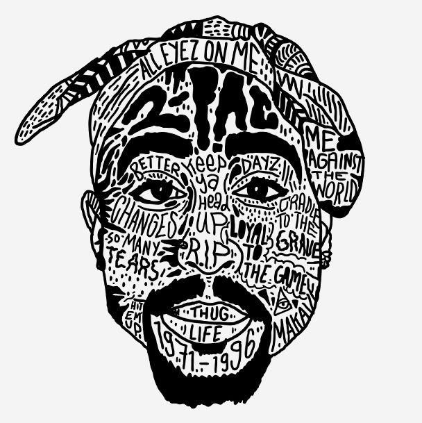 Illustration art hip hop rap Typography rappers Black & White ...