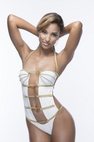 NEW! The KEISHA ALS x ANYA 'White Diamante Monokini with Gold Pins'