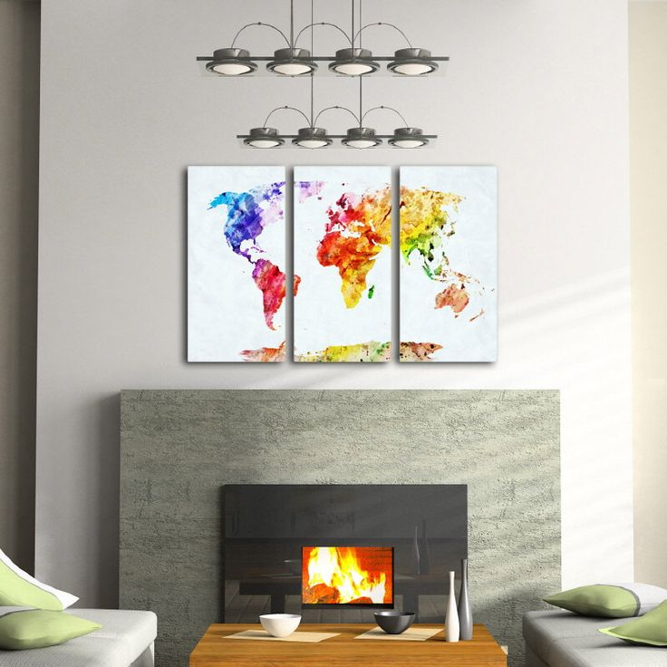 Watercolor World Map Triptych Canvas Set - Stretched on 1.5 inches gallery wrap frames Ready to hang Nursery canvas art print Set of 3 by IDgrams on Etsy https://www.etsy.com/listing/217461249/watercolor-world-map-triptych-canvas-set
